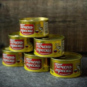 Рыбные консервы стерилизованные. Печень трески атлантической (куски) натуральная.